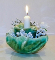 Dark Green Flower Pod Candle Holder